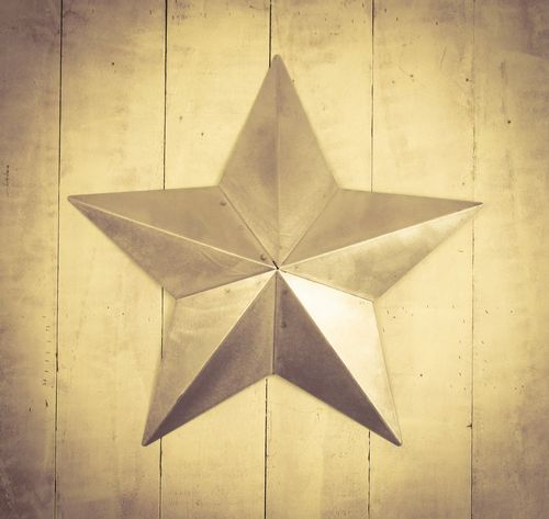 "Huge Metal 22"" Brushed Metal Amish Barn Star"